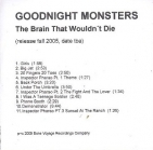 Goodnight Monsters - The Brain That Wouldn't Die PROMO CD (VG/M-) -indie rock-