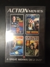 Action Movies (Flight Of The Black Angel / Final Mission / Aurora - Operation Intercept / White Ghost) 2DVD (VG+/M-) -toiminta-