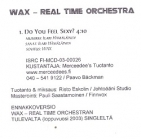 Wax Real Time Orchestra - Do You Feel Sexy? PROMO CDS (VG+/M-) -alt rock/house-